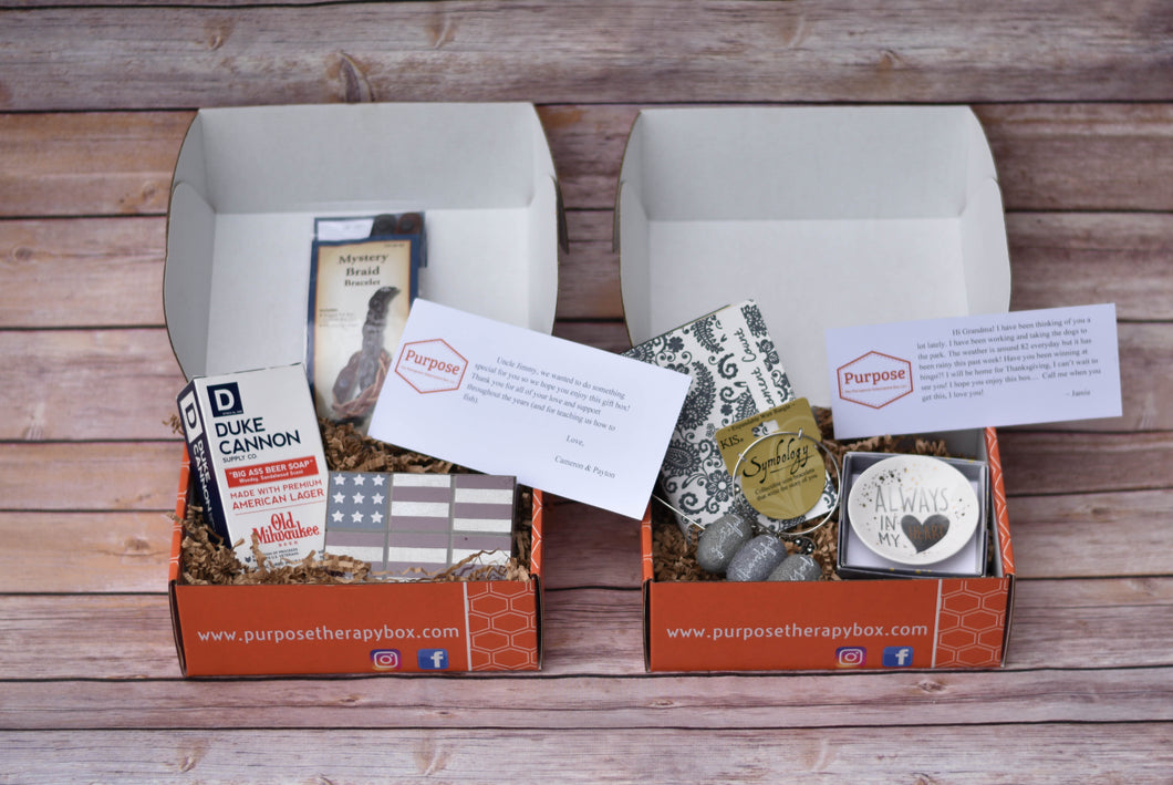 Purpose The Therapeutic Subscription Box, LLC Thinking of You Box Mens version and womens version