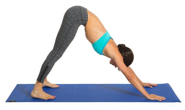 Female using blue Yoga Mat