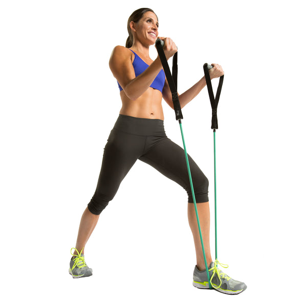 Female performing bicep curl w/ Power Tube with Handles