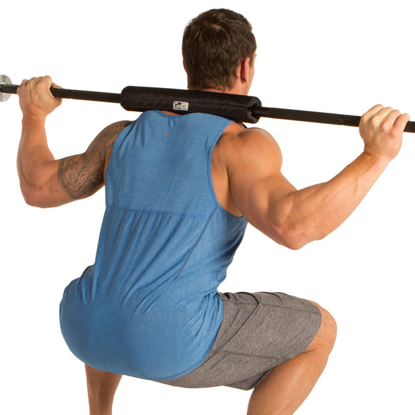 Male utilizing Olympic Barbell Pad