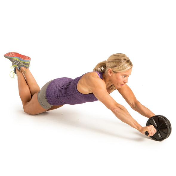 Female performing front roll-out with Dual Exercise Ab Wheel