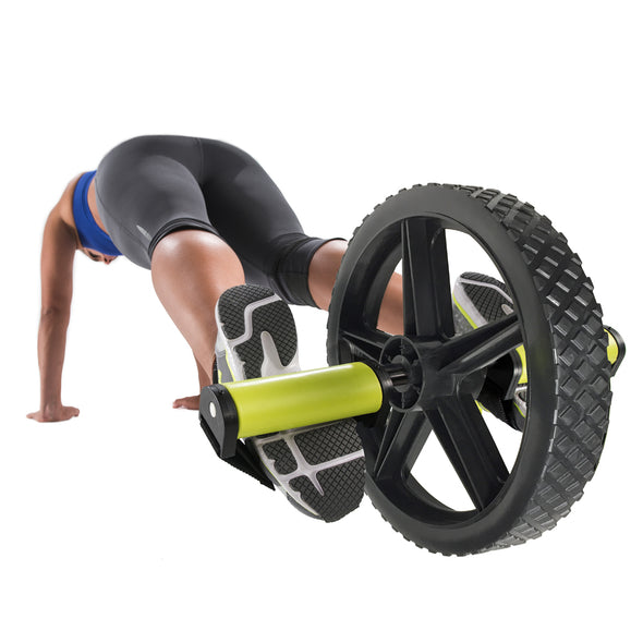 Female utilizing foot straps on Extreme Ab Wheel