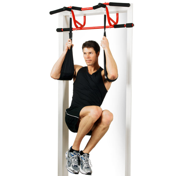 Man utilizing the Elevated Chin Up Ab Straps