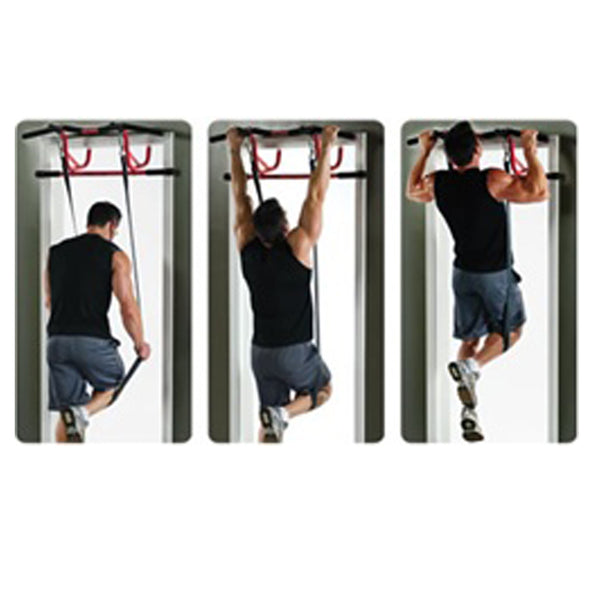 Male utilizing Gravity Band for Elevated Chin Up Station
