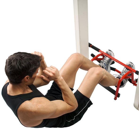 Male performing low mount sit ups in doorway with Elevated Chin Up Station