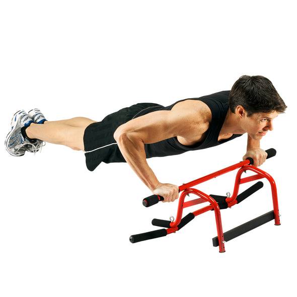 Male performing push ups on ground with Elevated Chin Up Station