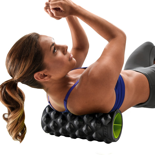 Female rolling upper back with Extreme Go Roller