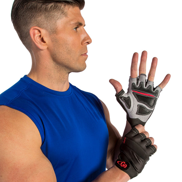 Male putting on Xtreme Training Gloves with Articulated Grip