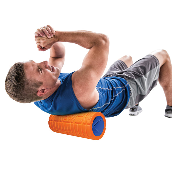 "Male rolling upper back with 13"" Go Roller"