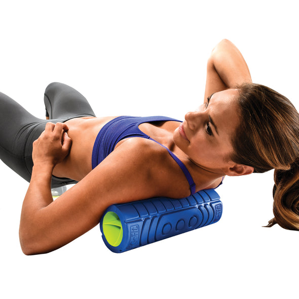 Female rolling upper back with 12 inch Go Roller