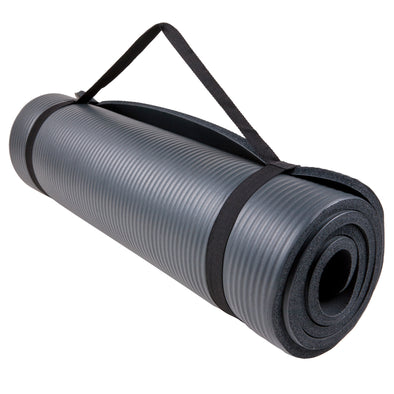 Fitness Mat rolled up with carry strap