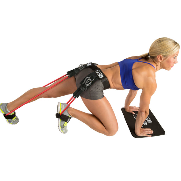 Female performing Mountian Climbers with Glute Blaster Belt