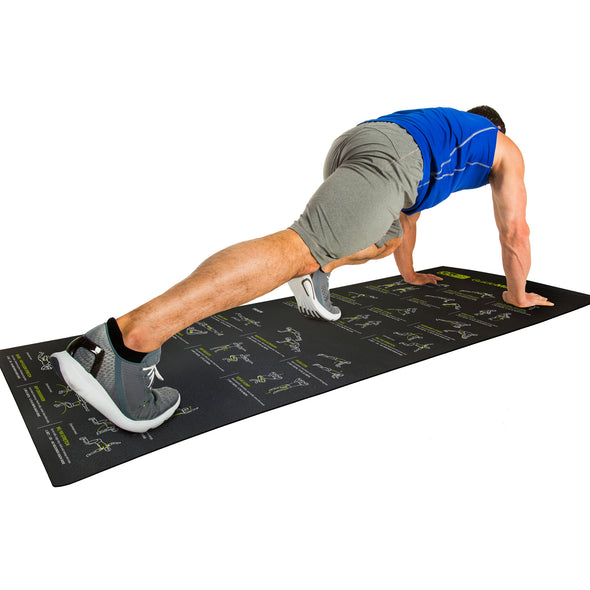 Male performing Mountain Climbers w/ Guide Mat