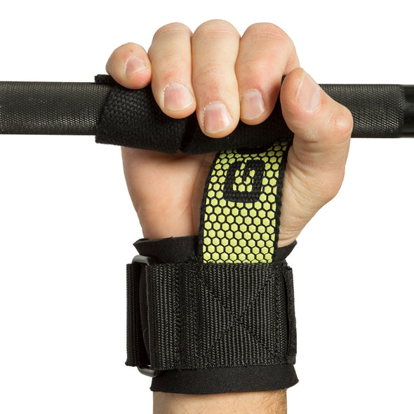 Pro Go Grips with Wrist Wraps on hand and wrapped around bar