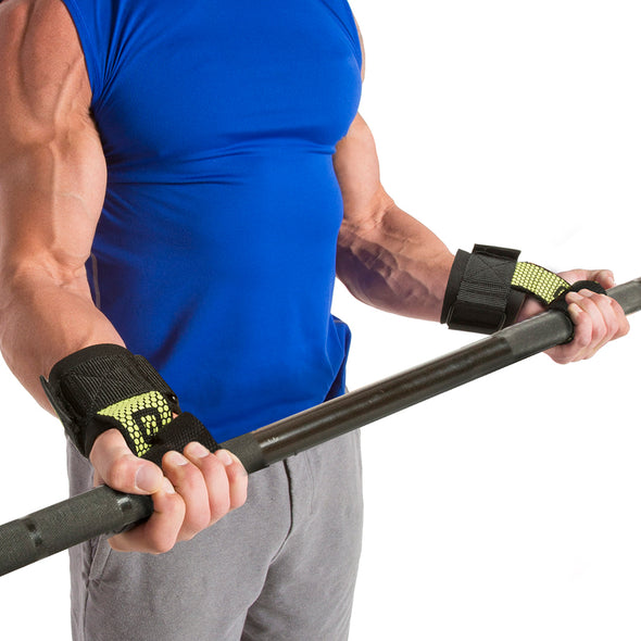 Male performing bicep curl w/ Pro Go Grips with Wrist Wraps