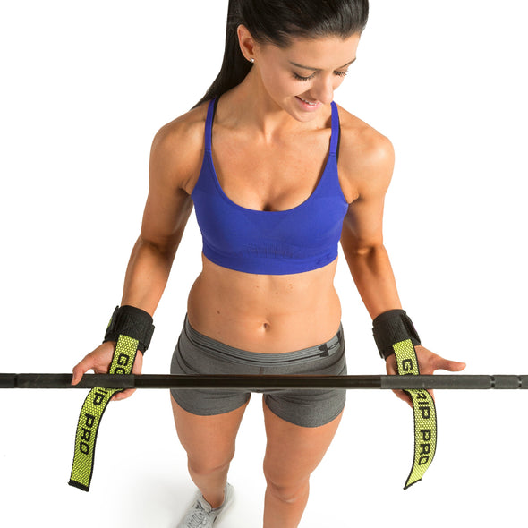 Female holding weight bar w/ Pro Go Grips with Wrist Wraps