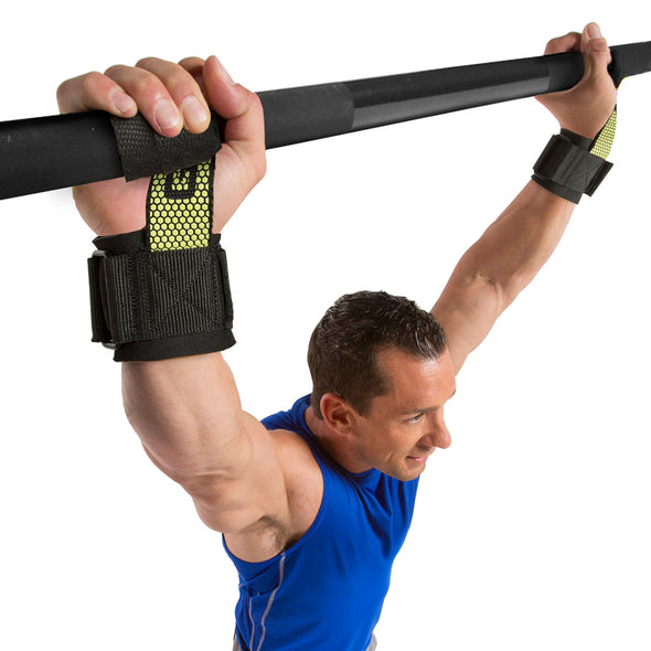 Male performing pull up w/ Pro Go Grips with Wrist Wraps