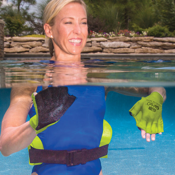 Female utilizing GoH2O gloves & belt in pool