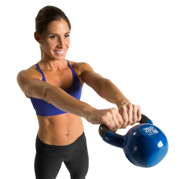 Female swinging 20lb Kettlebell