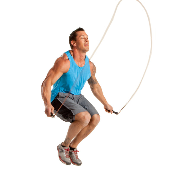 Male jumping w/ Leather Jump Rope