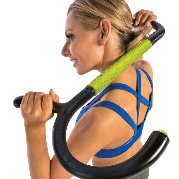 Male rolling neck with Muscle Hook Multi-Tool