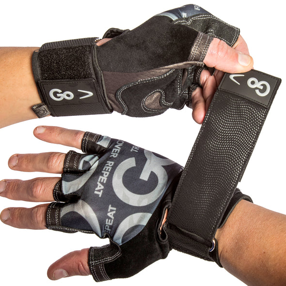 Premium Leather Elite Trainer Wrist Wrap Gloves on hands