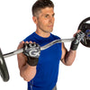 Male utilizing Premium Leather Elite Trainer Wrist Wrap Gloves
