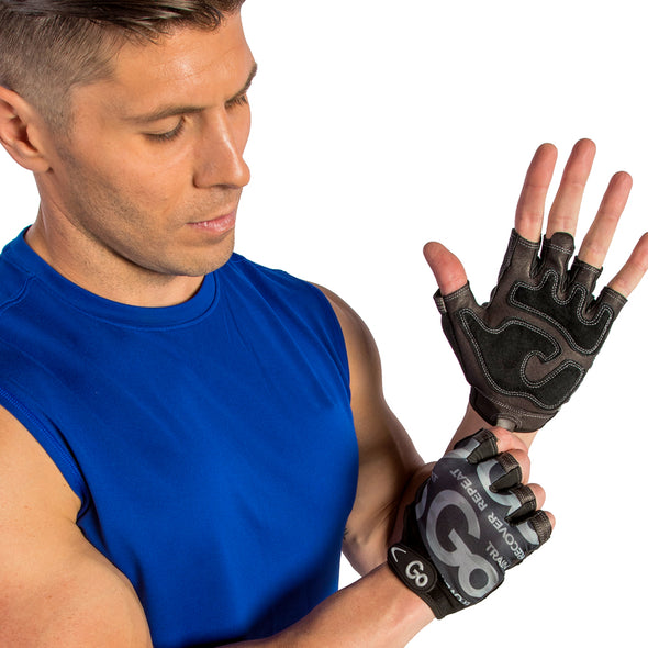 MAle putting on Men's Premium Leather Elite Trainer Gloves
