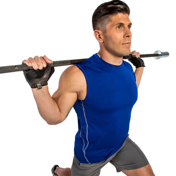 Male lunging with weight bar wearing gloves
