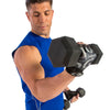 Male performing bicep curls with gloves on