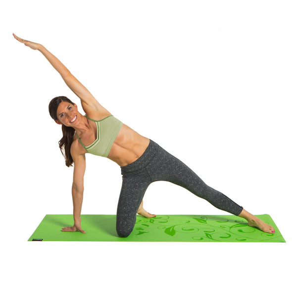Female performing stretch on Hummingbird Garden Designer Yoga Mat