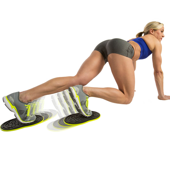 Female performing Mountain Climbers with Go Slides