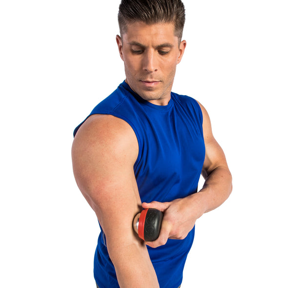 Male rolling bicep w/ Thermal Roll-On Massager