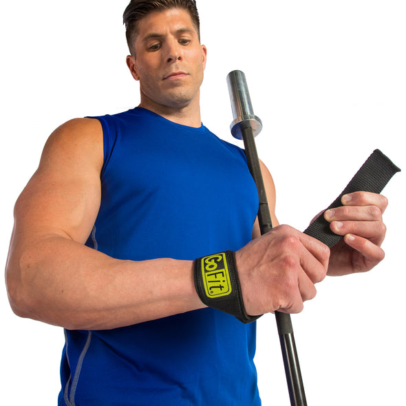 Male putting on Ultra Padded Pro Wrist Straps