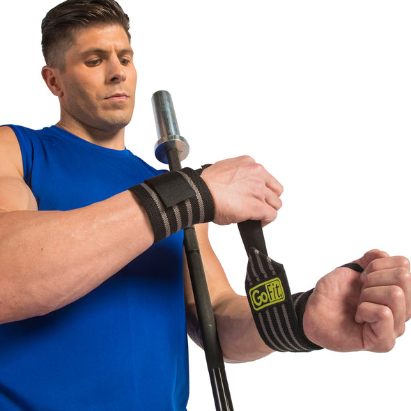 Male putting on Ultra Pro Wrist Supports
