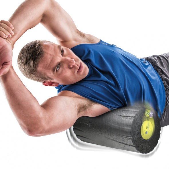 MAle rolling trapezius w/ Vibrating Massage Roller