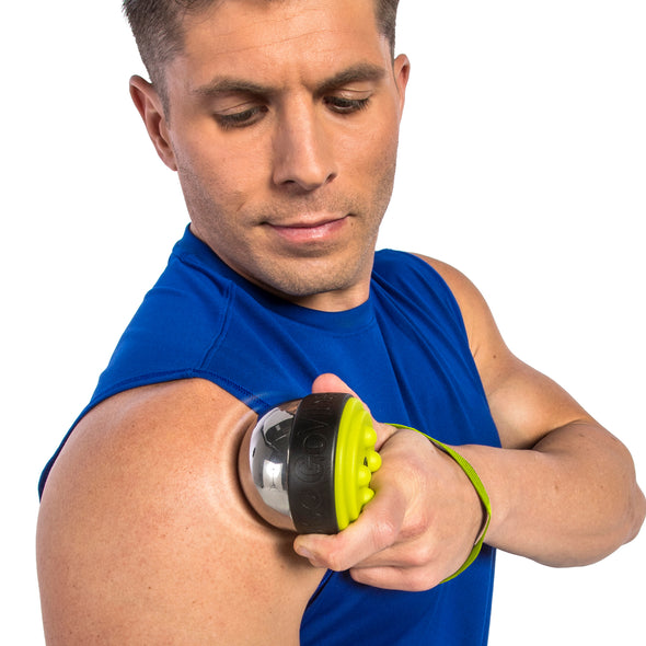 Male utilizing GoVibe Massager on shoulder