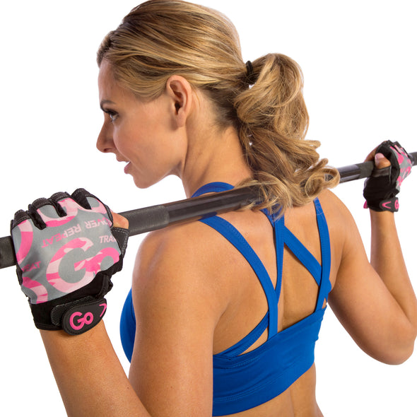 Feamlae using Pink Cammo Women's Premium Leather Elite Trainer Gloves