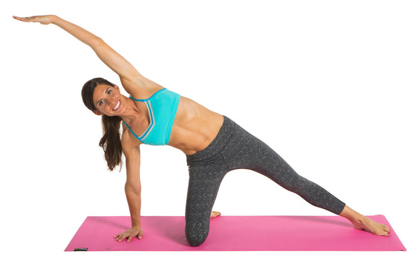 Female using pink Yoga Mat