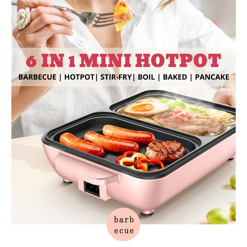 Image result for 6 IN 1 Mini Steamboat & BBQ Grill