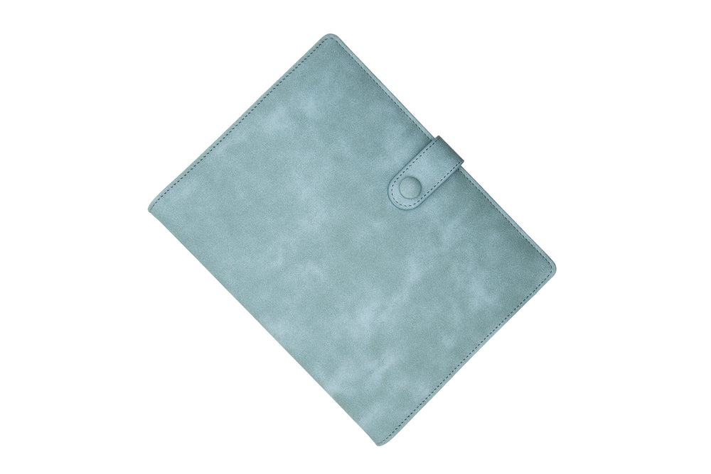 PU Leather PowerBank Notebook Grey Blue