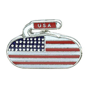 USA Curling Rock Pin