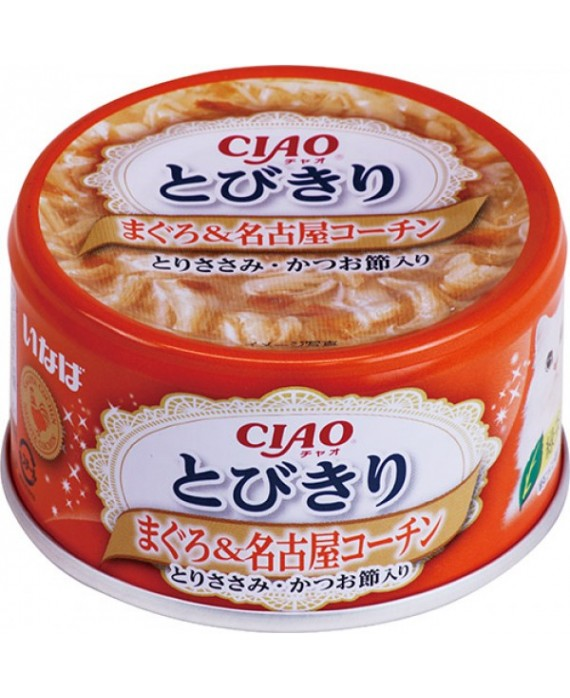 CIAO - Cat Canned Food - Premium Tuna and Nagoya Kochin Chicken with Chicken Fillet and Bonito Flakes - 80G (24 Cans)
