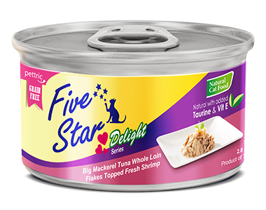 Five Star - Delight Series - Big Mackerel Tuna Whole Loin Flakes Topped Fresh Shrimp - 80G