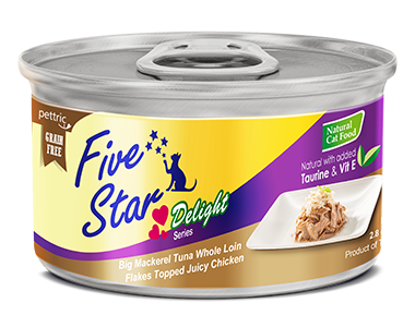 Five Star - Delight Series - Big Mackerel Tuna Whole Loin Flakes Topped Juicy Chicken - 80G