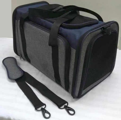 One for Pets - Expandable Pet Carrier - Blue/Grey - 48CM x 30.5CM x 30.5CM (L) - PetProject.HK