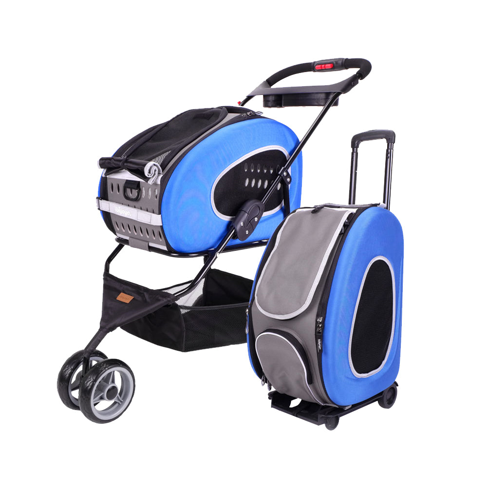 Ibiyaya - 5-in-1 Combo EVA Pet Carrier/Stroller - Blue - PetProject.HK