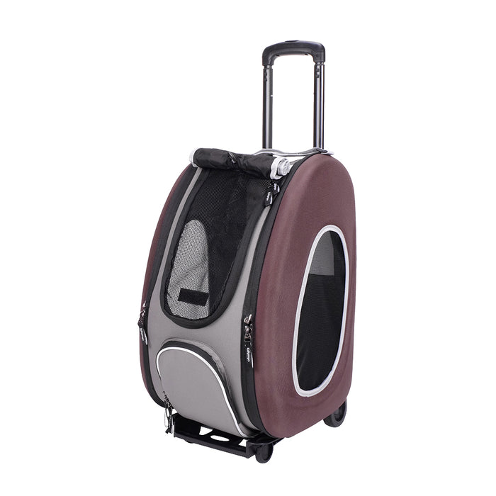 Ibiyaya - EVA Pet Carrier/ Pet Wheeled Carrier - Brown - PetProject.HK