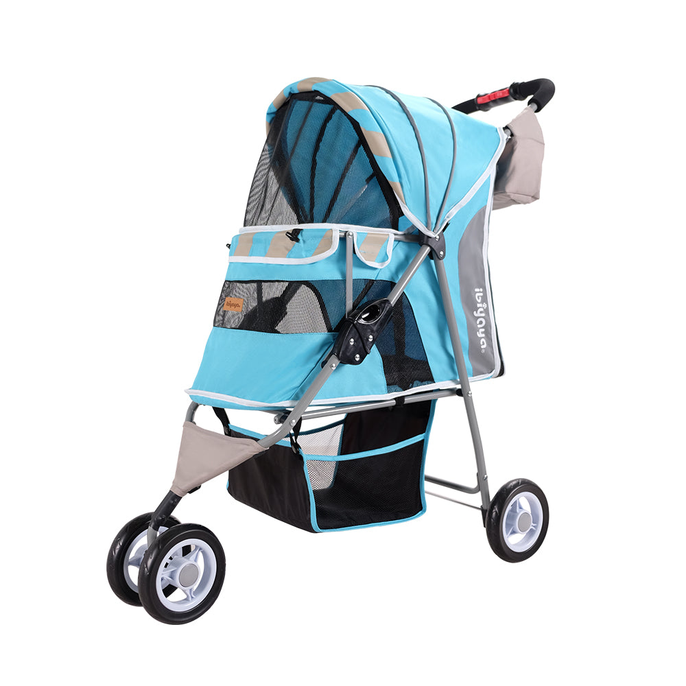 Ibiyaya - Matte Edition Diagonal Stripes Pet Stroller - Ocean Blue - PetProject.HK