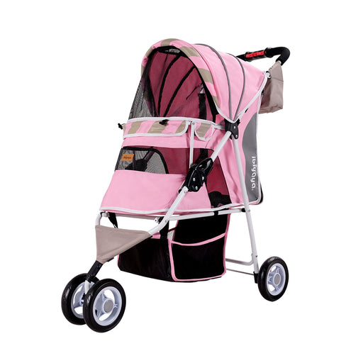 Ibiyaya - Matte Edition Diagonal Stripes Pet Stroller - Sugar Pink
